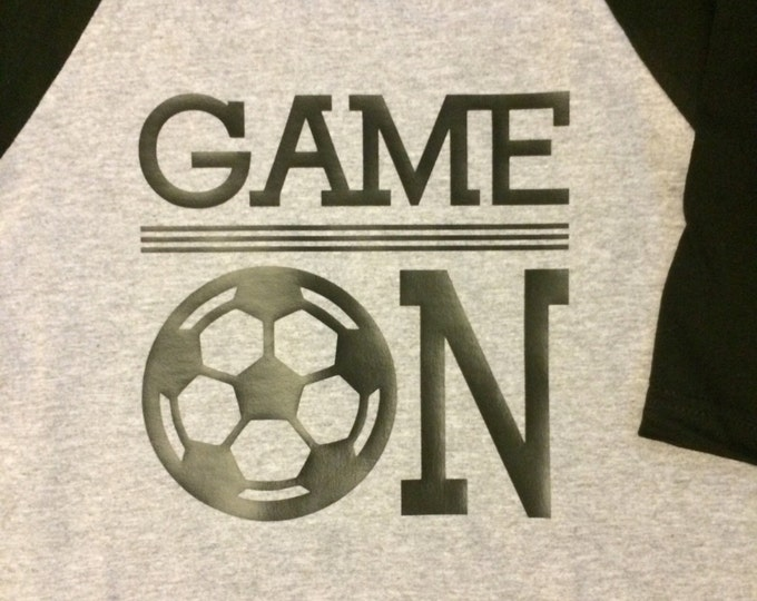 Soccer/Soccer Raglan Shirt/Game On Soccer/Kids Soccer Shirt/Goal/Kids Sports Shirts