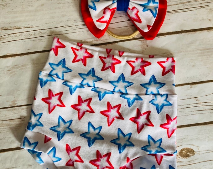 Patriotic Stars Bummies/Infant Bummies/Infant Shorts/High Waisted Bummies/Baby Bummies/Red and Blue Stars/Patriotic Bummies/Fourth of July/