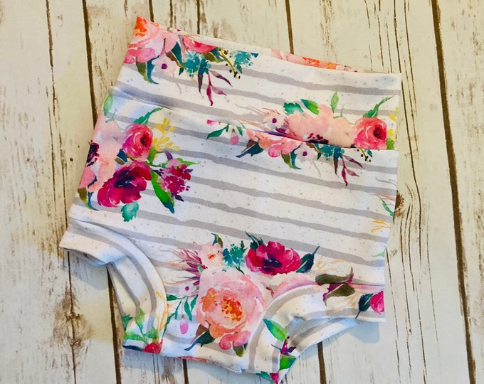 Floral with Grey Stripes Watercolor Bummies/Infant Bummies/Infant Shorts/High Waisted Bummies
