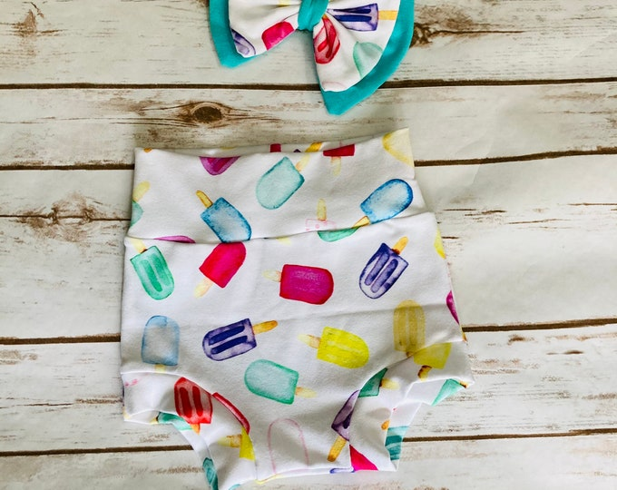 Popsicles Watercolor Bummies/Infant Bummies/Infant Shorts/High Waisted Bummies