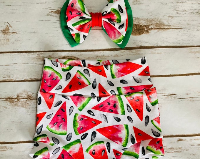 Watermelon Bummies/Infant Bummies/Infant Shorts/High Waisted Bummies