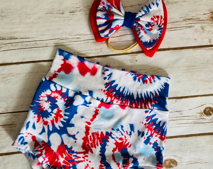 Patriotic Tie Dye Bummies/Infant Bummies/Infant Shorts/High Waisted Bummies/Baby Bummies/Red and Blue/Patriotic Bummies/Fourth of July/