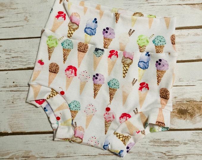 Ice Cream Cone  Bummies/Infant Bummies/Infant Shorts/High Waisted Bummies/Baby Bummies/Ice cream/Ice cream cones