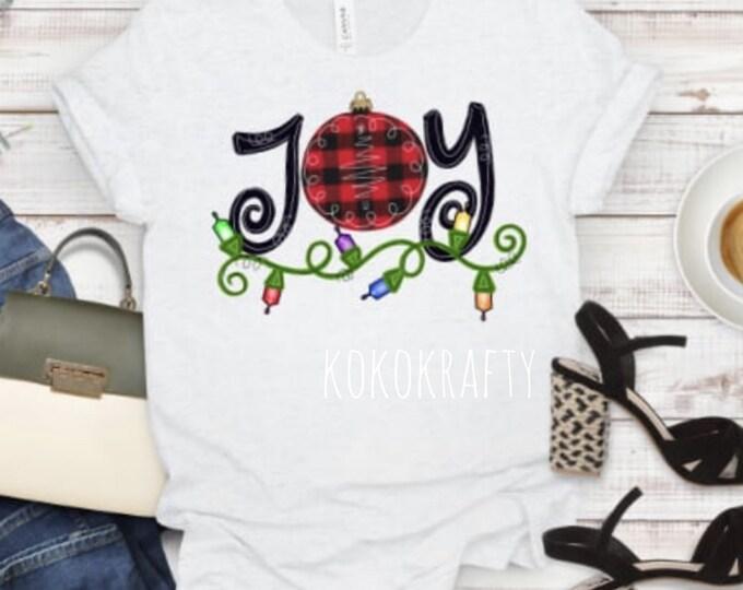 JOY Christmas T-shirt/Holiday Shirt/Christmas T-Shirt/Holiday Gifts/OOTD/Christmas/Joy T-Shirt/Christmas Lights