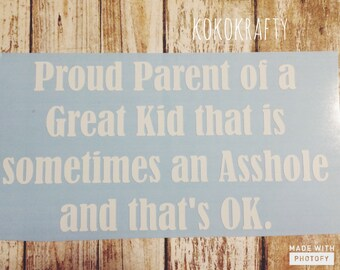 Proud Parent Car Decal/ Great kid sometimes an a#%hole Car Decal/ mature car decal