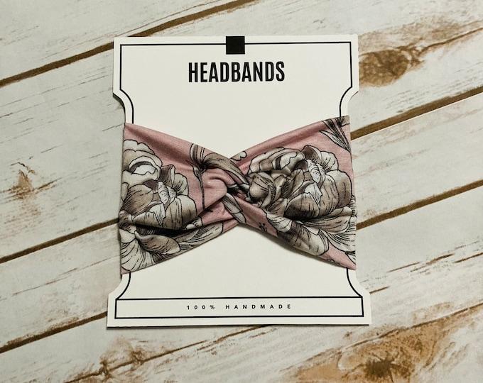 Baby Pink White Floral Twisted Turban Headband/Athletic Headband/Yoga/Headband