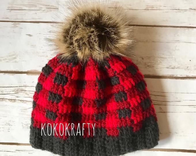 Plaid Crochet Hat, Plaid hat, Crochet Winter Hat, Winter Hat, Plaid beanie, Winter Accessories, Faux Fur Pom Pom, Holiday Gifts