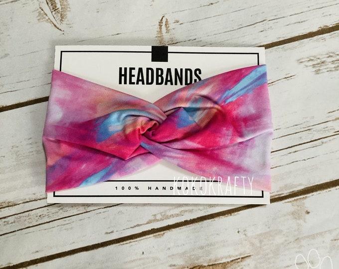 Pink Tie Dye Twisted Turban Headband/Athletic Headband/Yoga/Headband