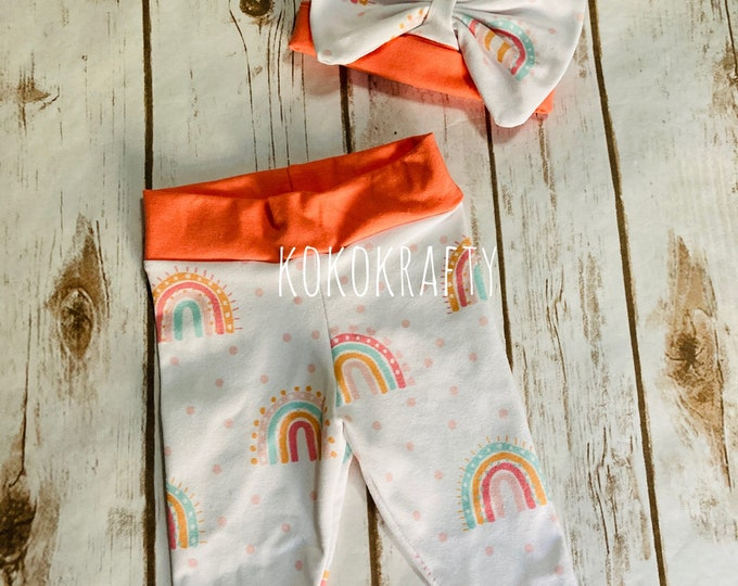 Newborn Rainbow Coming home outfit, Rainbow, Newborn Leggings, Leggings, Newborn, Beanie and legging outfit,