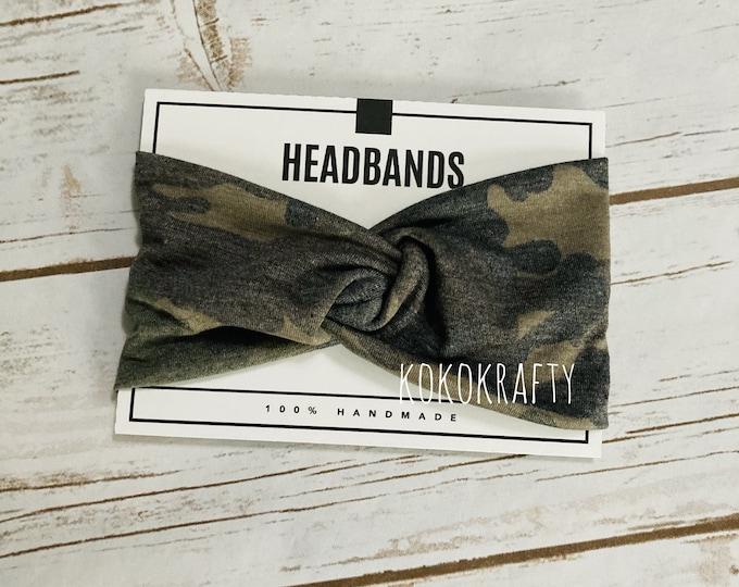 Camo Twisted Turban Headband/Athletic Headband/Yoga/Headband