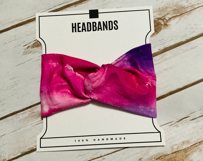 Pink & Purple Cosmic Twisted Turban Headband/Athletic Headband/Yoga Headband/Headband/Hair Accessories/Women's Headbands