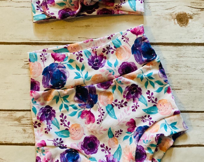 Purple Floral Watercolor Bummies/Infant Bummies/Infant Shorts/High Waisted Bummies
