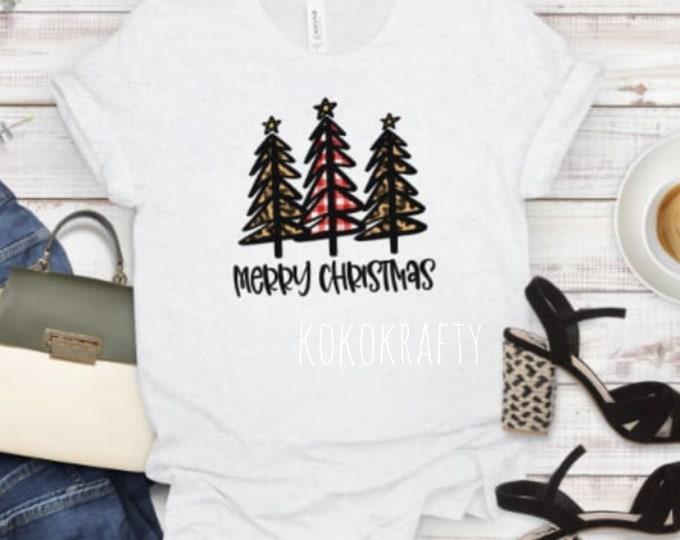 Merry Christmas Trees T-shirt/Holiday Shirt/Christmas T-Shirt/Holiday Gifts/OOTD/Christmas Trees
