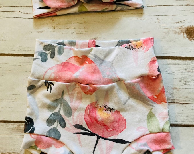 Pink Floral Watercolor Bummies/Infant Bummies/Infant Shorts/High Waisted Bummies