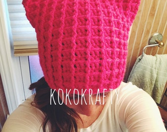 Pussyhat/Kitty Crochet Hat/Crochet Cat Hat/womens march hat