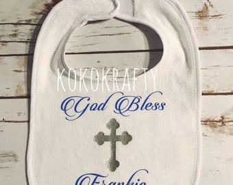 Baptism/Christening Bib God Bless, Personalized Baptism Christening Bib, Baby Bib, God Bless Bib