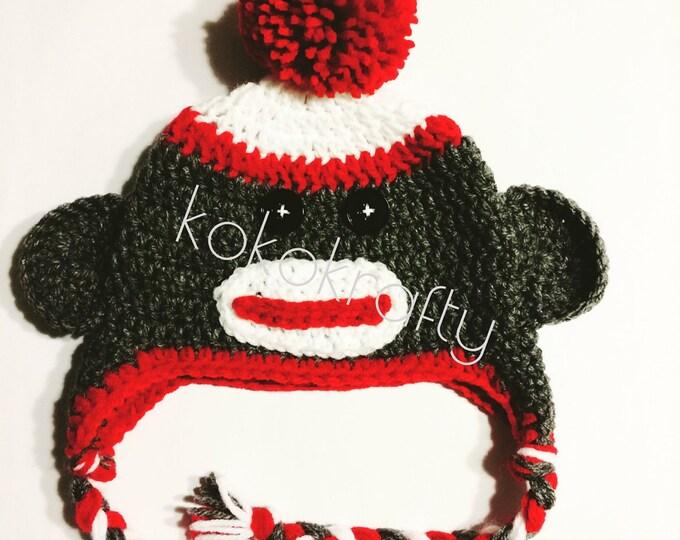 Sock Monkey/Crochet Hat/Crochet Sock Monkey/Kids Crochet Hats/Monkey Hat/Winter Hat/Cool Hats