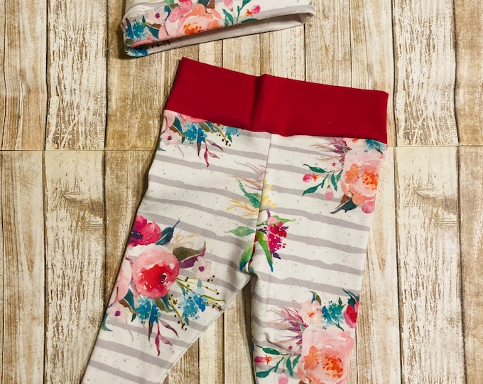 Newborn Floral Coming home outfit, Floral and Stripes Newborn Leggings, Leggings, Newborn, Beanie and legging outfit,
