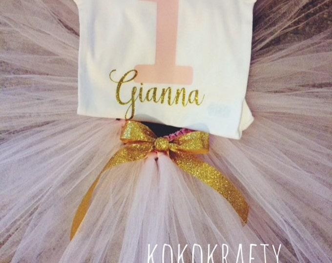 Birthday Tutu Outfit/First Birthday/First Birthday Bodysuit and Tutu/Fancy First Birthday/Birthday/Tutu