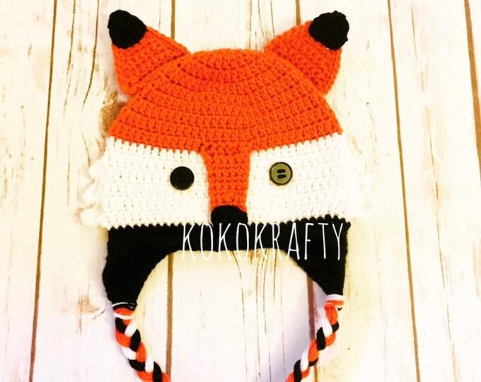 Fox Hat, crochet fox hat, fox, woodland hat, infant hat, child hat