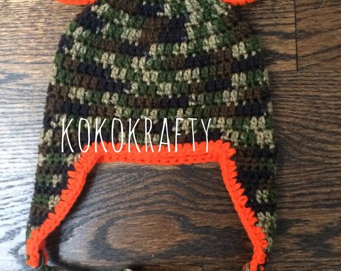 Camo Bear Crochet Hat/Winter Hat/Camouflage Hat/Camo Winter Hat/Earflap Hat