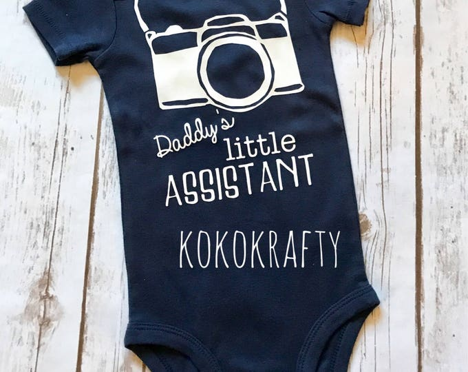 Daddy's Little Assistant, Baby Bodysuit, Infant Fashion, Camera Assistant Bodysuit, Photographer Assistant, Camera Bodysuit