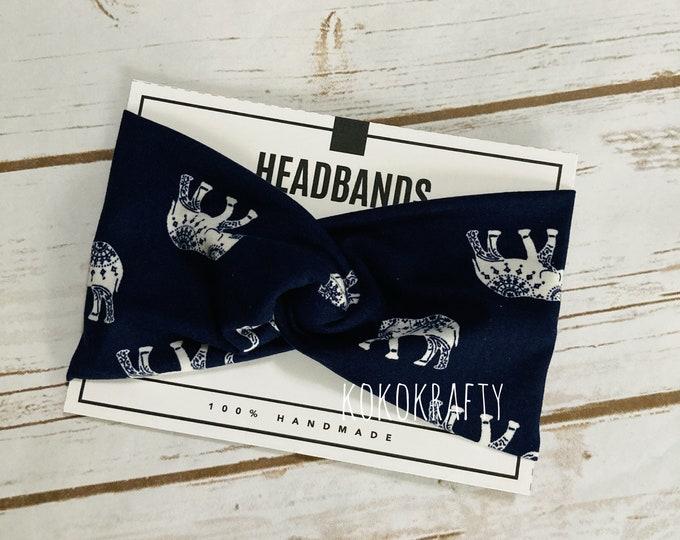 Navy Elephants Twisted Turban Headband/Athletic Headband/Yoga/Headband