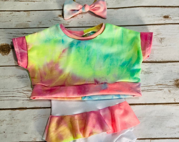 Tie Dye Crop Top/Skirted Bummies Set/Crop Top/Bummies/Baby clothing set/Dolman Crop Top/Shorties