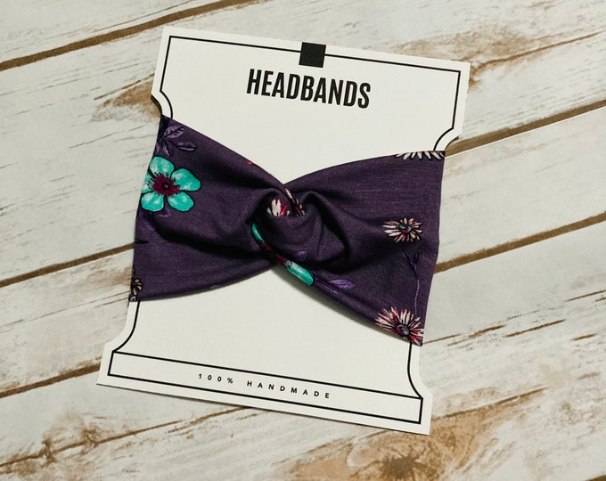 Purple Floral Twisted Turban Headband/Athletic Headband/Yoga/Headband