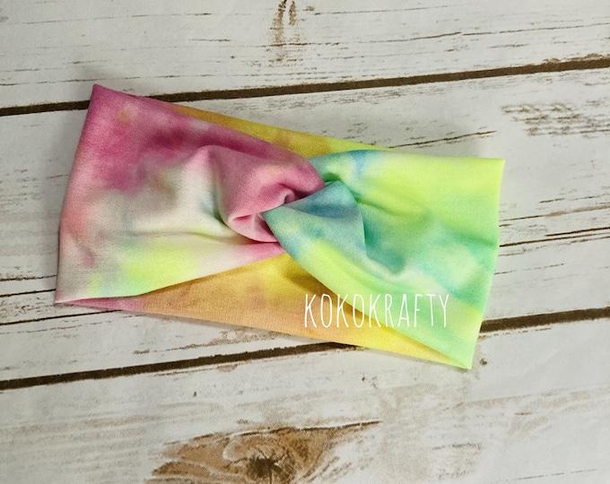 Pink/Yellow/Green Tie Dye Twisted Turban Headband/Athletic Headband/Yoga/Headband