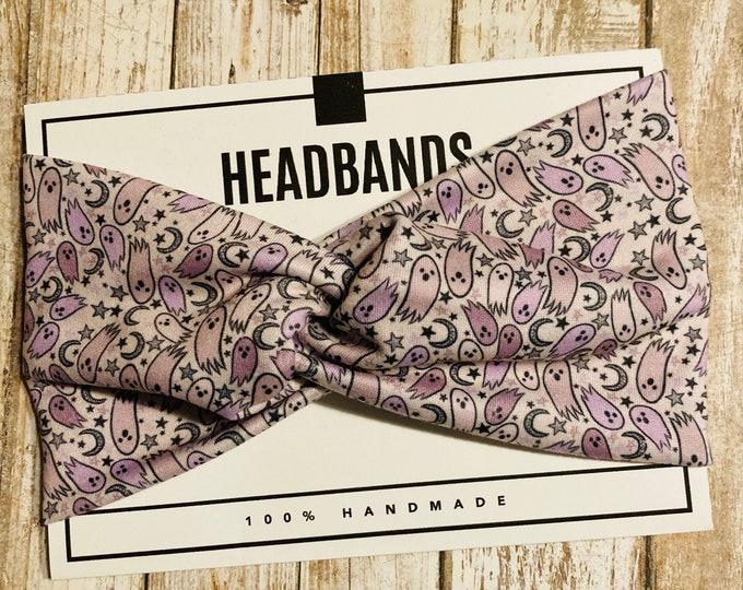 Halloween Twisted Turban Headband/Athletic Headband/Yoga/Headband/Ghosts Headband/Purple Ghosts Headband