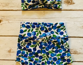 Blueberry Watercolor Bummies/Infant Bummies/Infant Shorts/High Waisted Bummies
