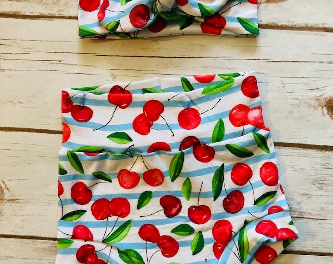 Cherries Watercolor Bummies/Infant Bummies/Infant Shorts/High Waisted Bummies
