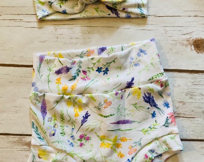 Wildflowers Floral Watercolor Bummies/Infant Bummies/Infant Shorts/High Waisted Bummies