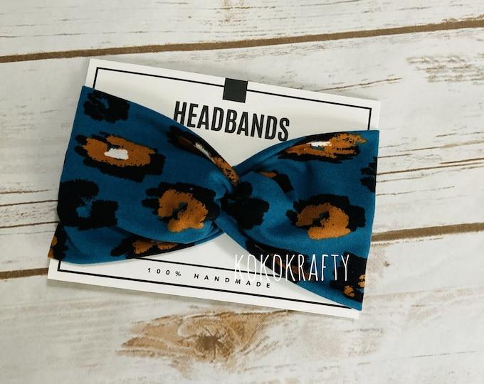 Turquoise Cheetah Twisted Turban Headband/Athletic Headband/Yoga Headband/Headband/Womens Headband