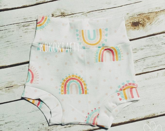 Rainbow Bummies/Infant Bummies/Infant Shorts/High Waisted Bummies