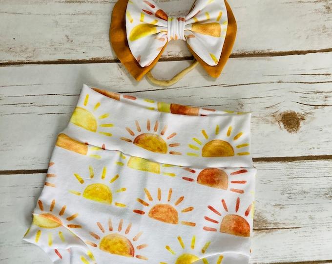 Suns Watercolor Bummies/Infant Bummies/Infant Shorts/High Waisted Bummies
