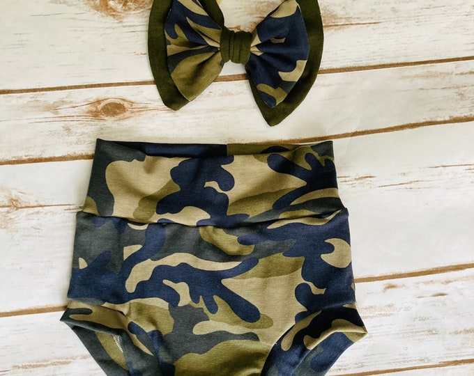 Camouflage Bummies/Infant Bummies/Infant Shorts/High Waisted Bummies