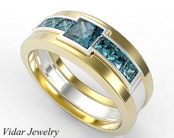 mens blue diamond wedding band etsy