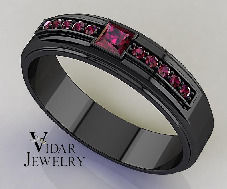 aba11b345807f Princess Cut Ruby Black Gold Wedding Band For Men, Unique Wedding Ring For  , Ruby Wedding Band For , Black Gold Wedding Ring For