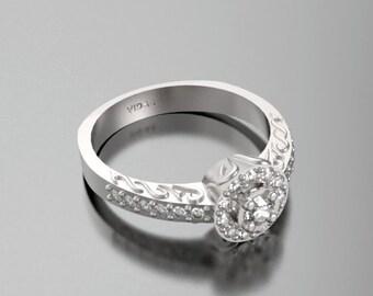 Unique Engagement Ring,Diamond Engagement Ring,Halo Engagement Ring,Diamond Ring,14K White Gold Ring,Engagement Ring