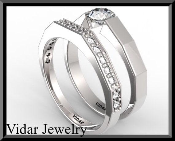 Diamond Wedding Ring Setdiamond Engagement Ring Settension Etsy