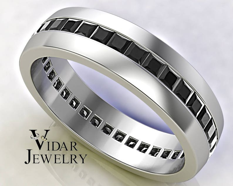 Black Diamond Wedding Ring Men Unique Wedding Ring Etsy