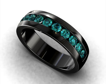 Black Gold Blue Diamond Mens Wedding Band Round Cut