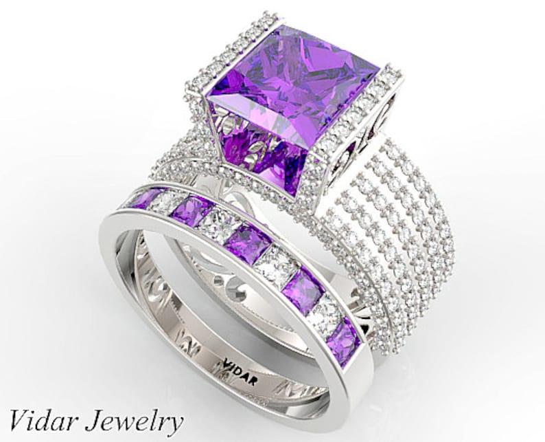 8901bbf0ce8f6 Amethyst Wedding Ring Set,Unique Purple Amethyst Diamonds Ring Set,Amethyst  Engagement Ring Set,Princess Cut Wedding Ring Set,Channel Set