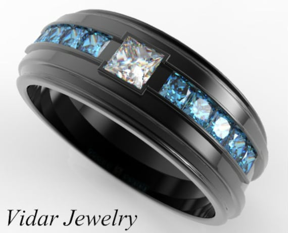 Men Blue Diamond Ring Black Gold Men Wedding Band Blue Etsy
