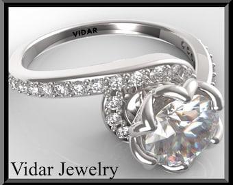 Unique Engagement Ring,Diamond Engagement Ring,Flower Engagement ring,Unique Engagement Ring,14k White Gold Ring,Custom Engagement Ring.