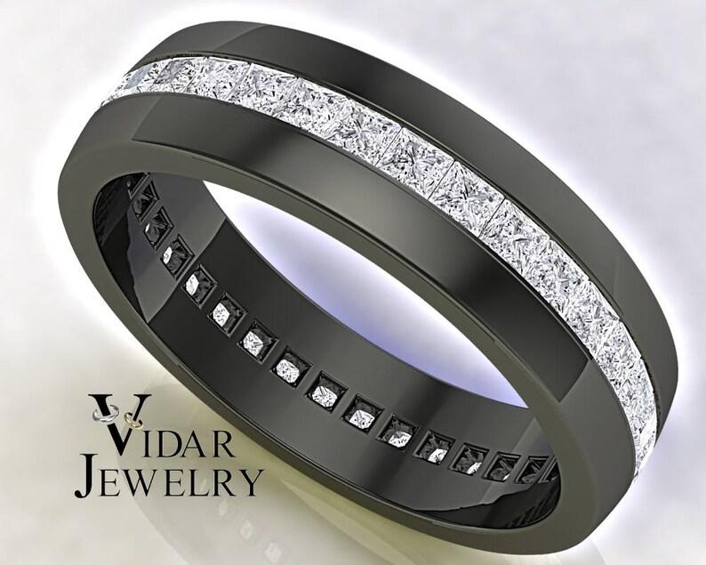 Wedding Ring For Men.Men Wedding Band Unique Wedding Band Black Gold Princess Diamond Wedding Ring Men Eternity Ring Black Gold Ring Diamond Wedding Band
