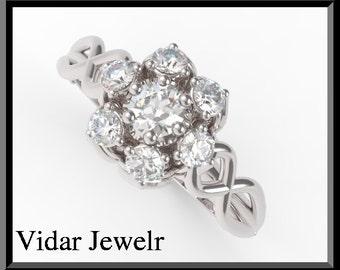 Flower Diamond Engagement Ring,Unique Engagement Ring Dedign,Flower Engagement Ring,Diamond Engagement Ring