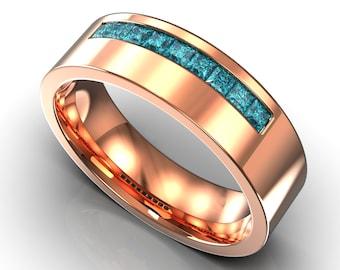 Rose Gold Blue Diamond Mens Wedding Band Square Cut Diamond